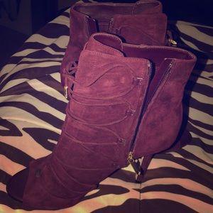 Women's high heel wine booties - Sam Edelman